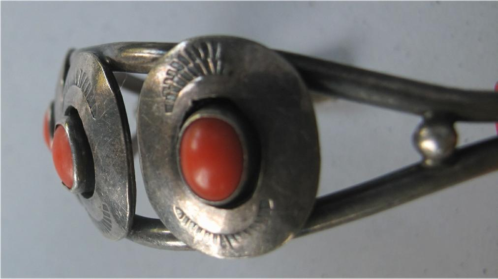 Navajo Native American Silver and coral cuff bracelet c1940s FR3SH