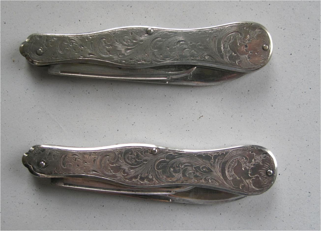 Pair of American sterling silver late 18th c custom pocket knives FR3SH