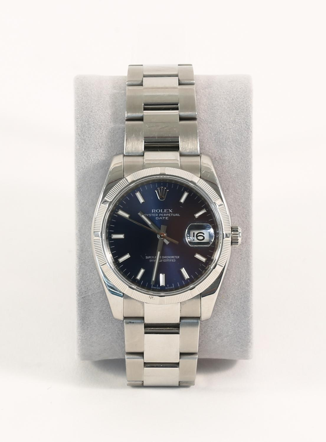 iGavel Auctions Rolex Mens Oyster Perpetual Date Blue Dial