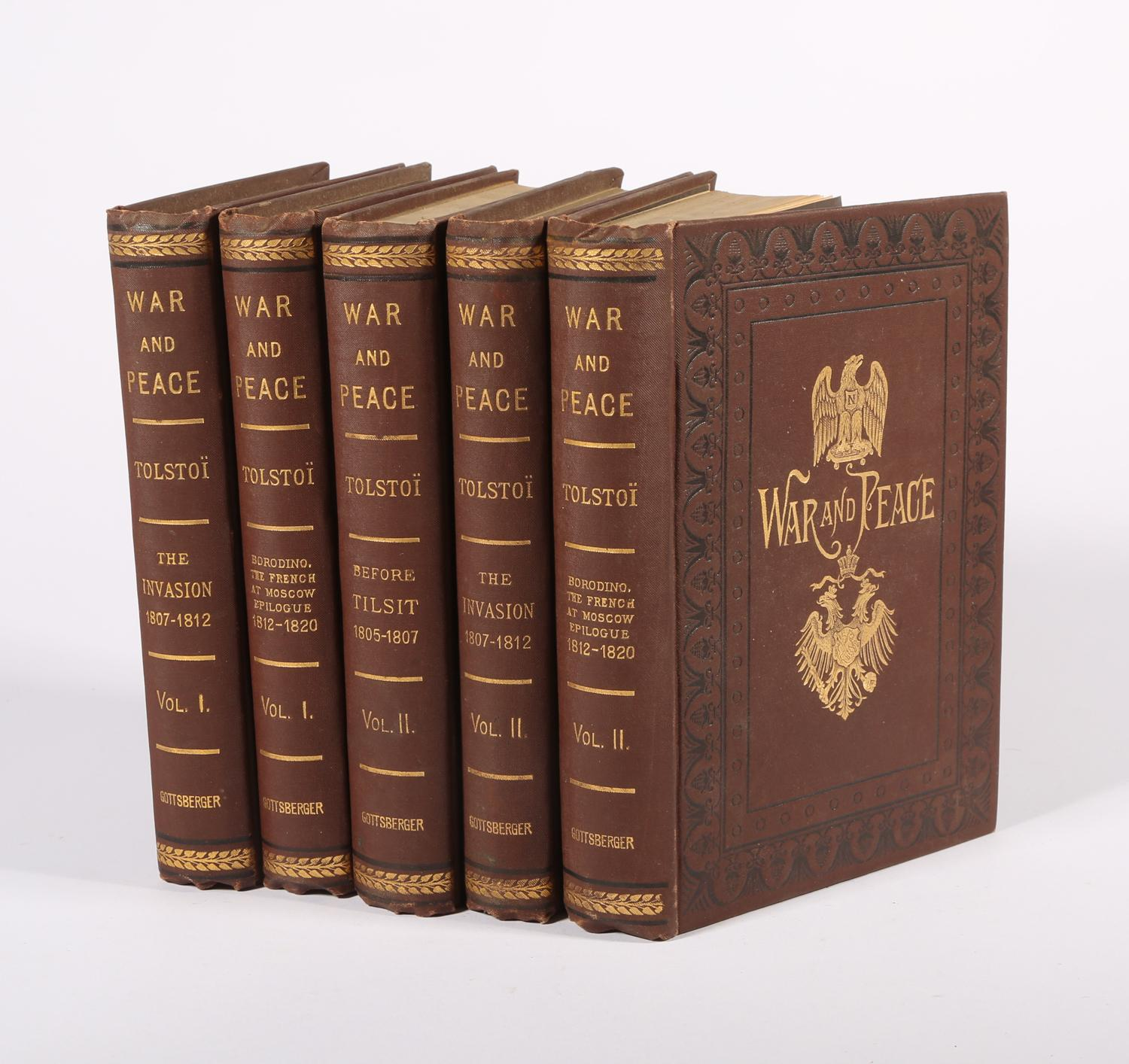 Tolstoy, Leo. War and Peace, 5 of 6 Volumes, 1886 SBC2