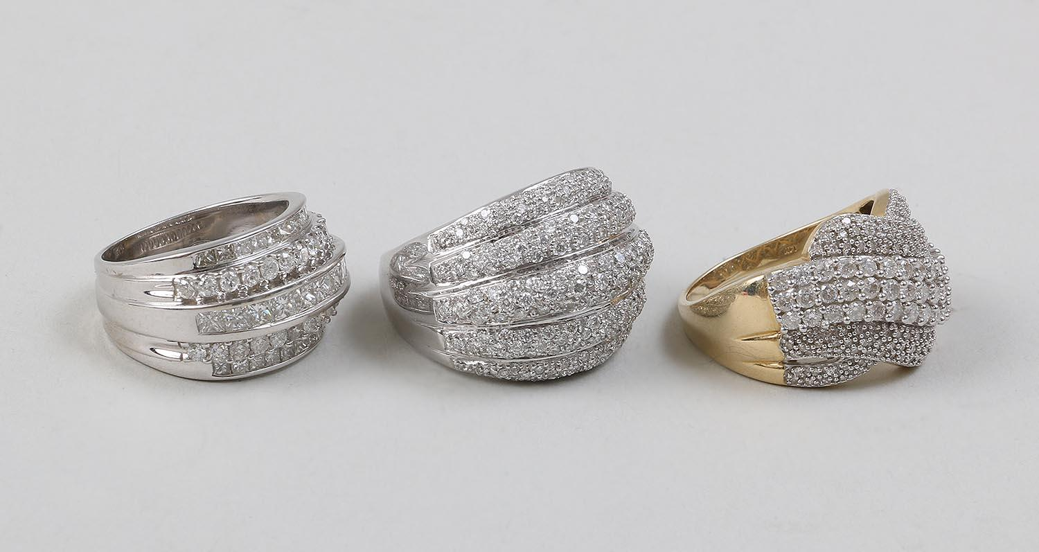 Group of (3) 14k gold and diamond rings. FR3SH.