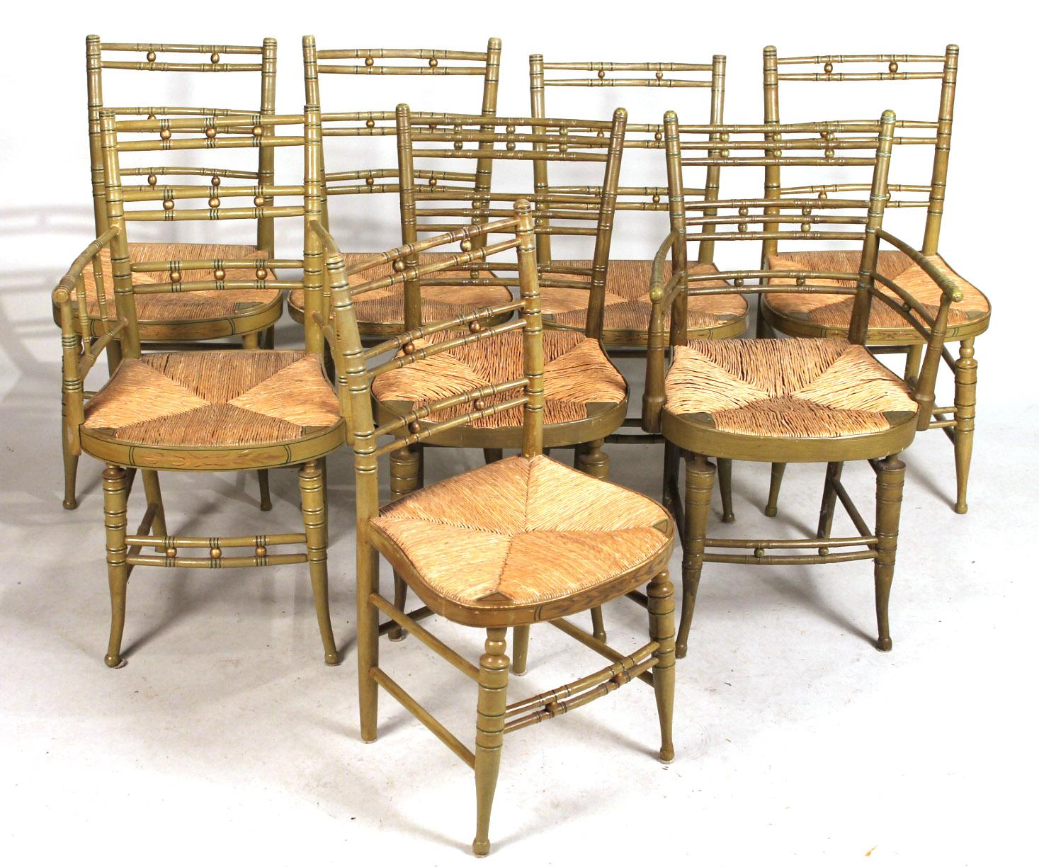 IGavel Auctions Eight Similar Victorian Green Painted Rush Seat Dining Chair