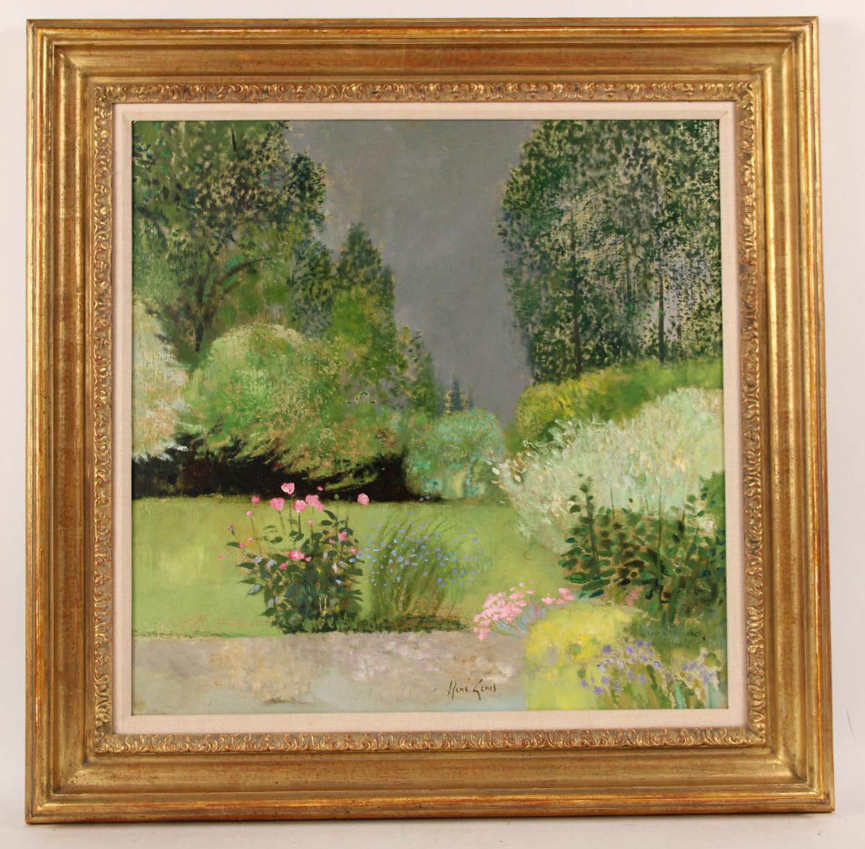 iGavel Auctions: Oil on Canvas, Floral Landscape, Rene ...