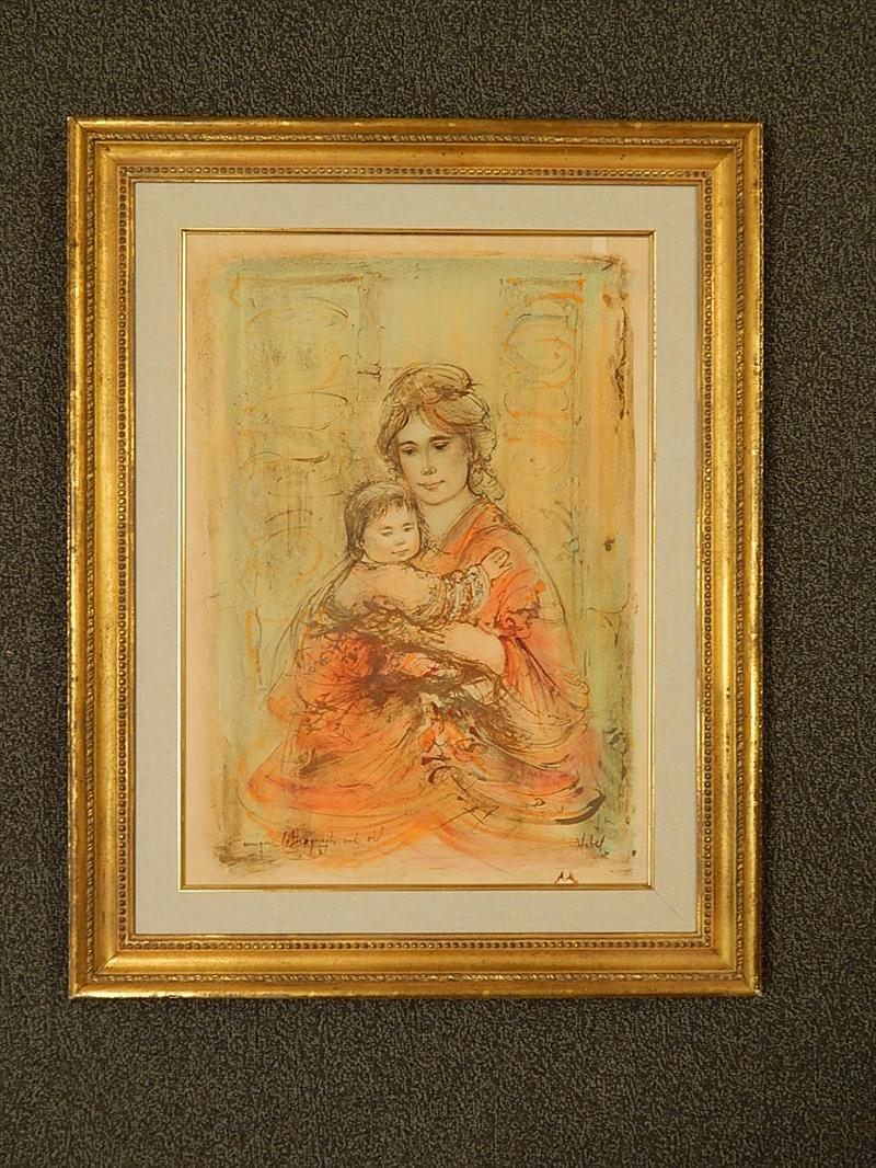Igavel Auctions Edna Hibel Unique Oil And Lithograph