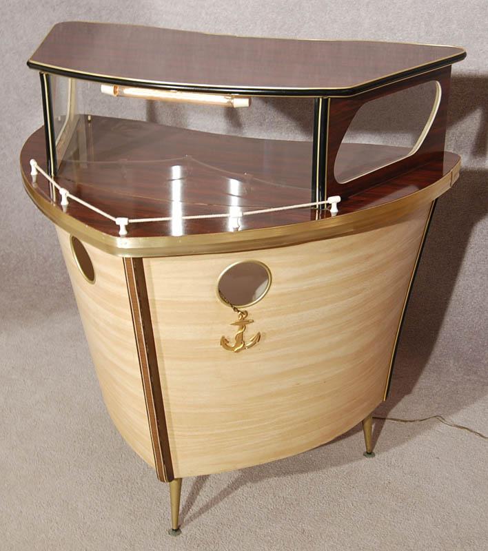 Igavel auctions retro modern boat shaped portable cocktail bar c 1950 r2nd6 - Mobile bar vintage ...