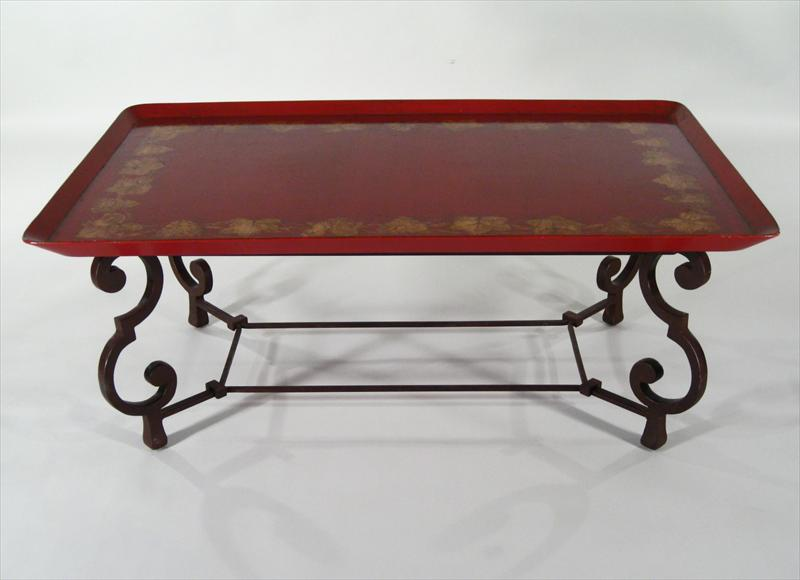 Igavel Auctions Brunschwig And Fils Red Lacquered Tray Top Coffee Table With Scrolling Metal