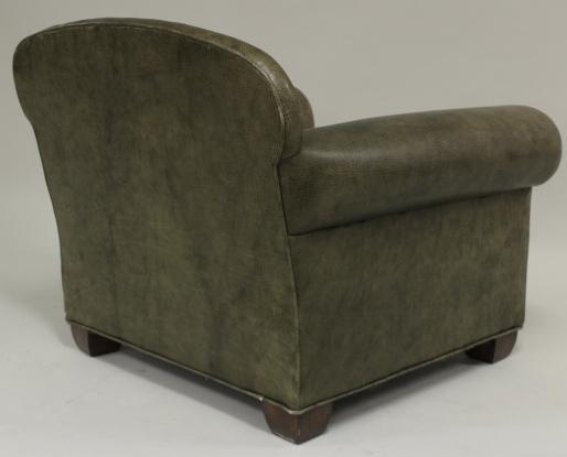 IGavel Auctions: Olive Green Leather Club Chair And Ottoman, 20th C. L1BFC, L1BFB