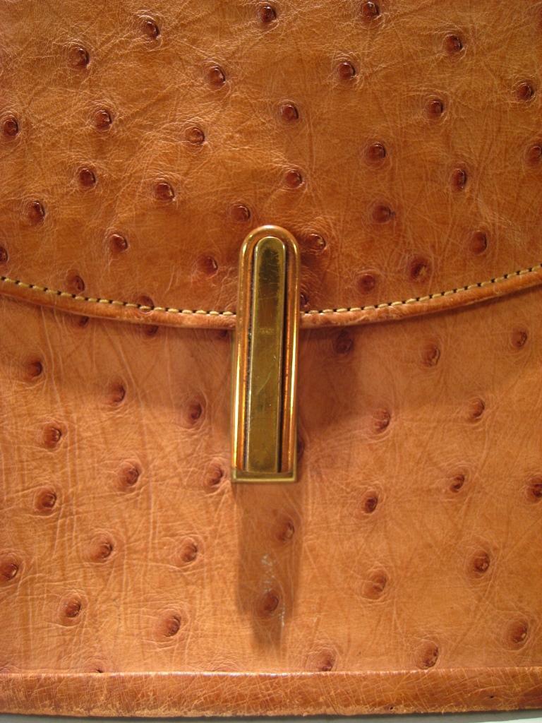 Igavel Auctions Vintage Camel Color Ostrich Flap Shoulder