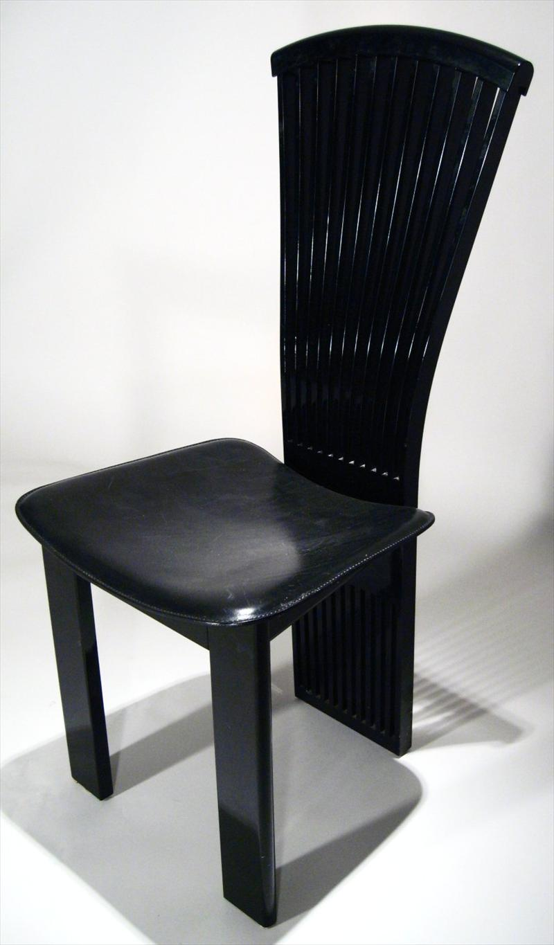 IGavel Auctions Set Of 6 Black Lacquer And Leather Dining
