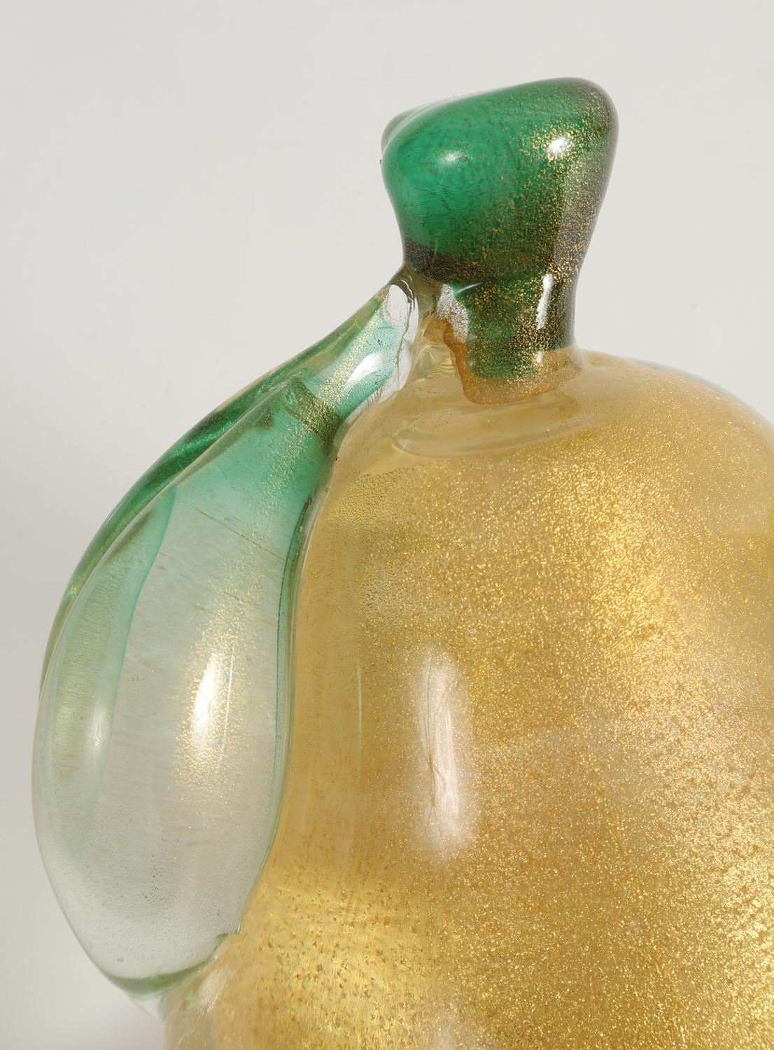iGavel Auctions: Murano Green and Gold Flecked Glass Apple and ...