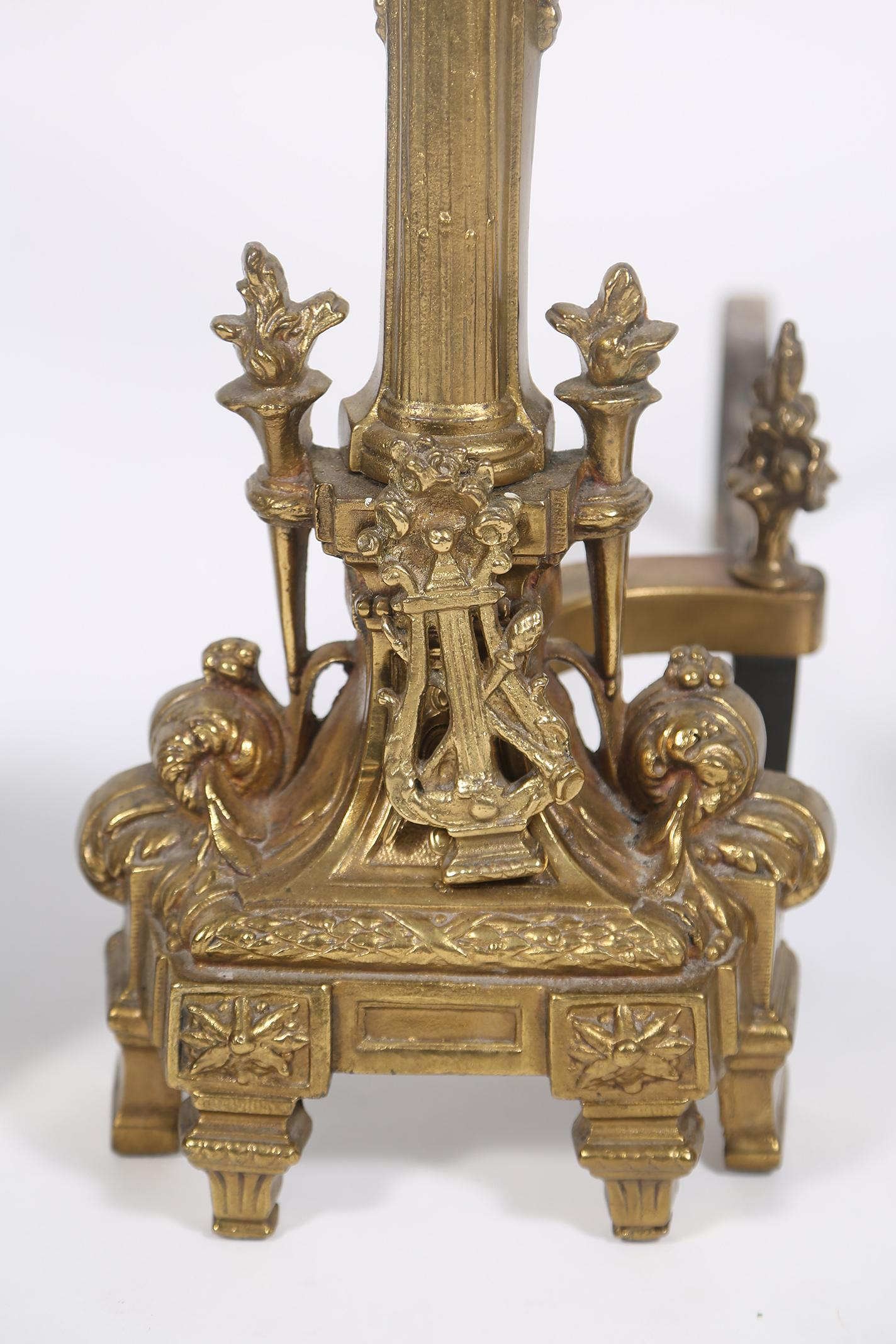igavel auctions pair of bronze andirons and a set of fireplace